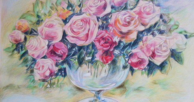 花の塗り絵バラの花 作品集 大人の塗り絵教室中小企業経営者